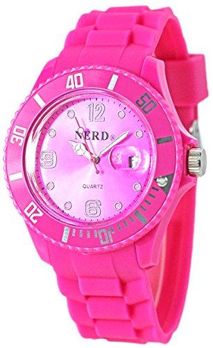 NERD Armbanduhr mit Datum in PINK G103