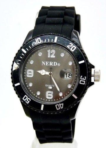 NERD Armbanduhr mit Datum Black G91