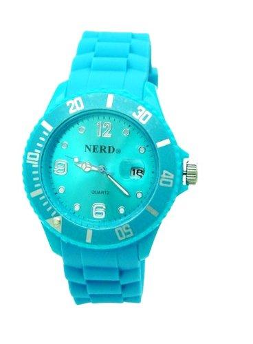 NERD Armbanduhr mit Datum in Hellblau A15
