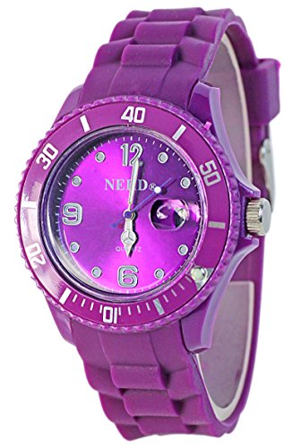 NERD Armbanduhr mit Datum in LILA G96