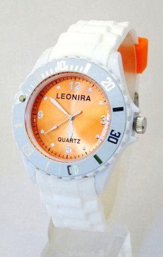 Nerd Leonira Uhr in Weiss Orange BU140