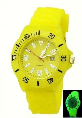 GLOW Watch GELB mit Datum Leuchtet komplett im Dunkeln G22