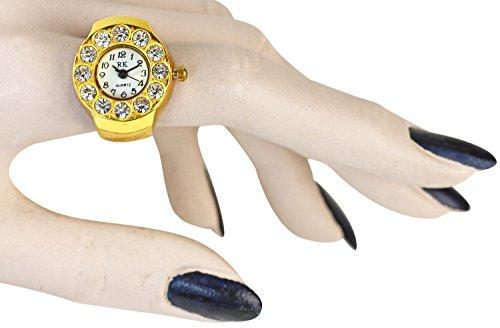 Wunderschoene Ringuhr Uhrenring Gold farbendes rundes Ziffernblatt