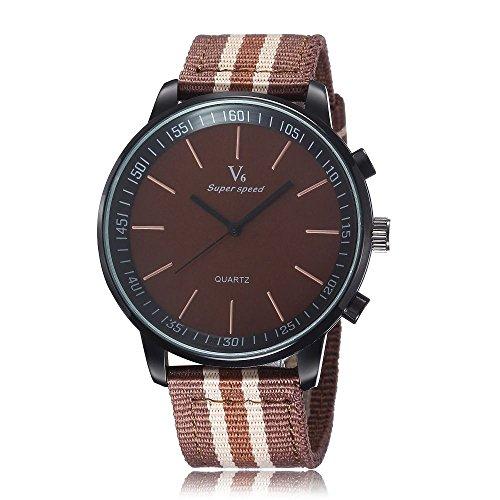U120 Chronograph Uhr Herren Damen Metall braun Quartz Stoffarmband Edelstahl