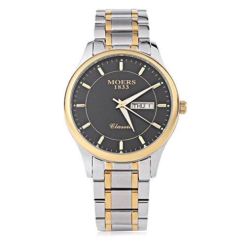 Leopard Shop Moers mj8010 Stecker Fashion Quarzuhr Nail Massstab phosphoreszierende Zeiger Display Armbanduhr Wasser Widerstand schwarz golden