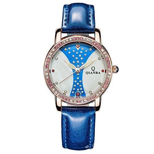 qianba q2604bn 2016 Damen Luxus Blau Lederband Hot Marke Casual Beruehmte Qualitaet Geschenk Quarz Wasserdicht Strass Relojes beliebtes Fashion Uhren