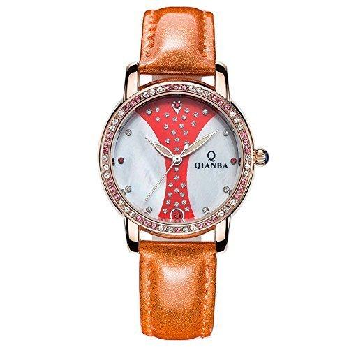 qianba q2604yd 2016 Damen Luxus Gelb Lederband Hot Marke Casual Beruehmte Qualitaet Geschenk Quarz Wasserdicht Strass Relojes beliebtes Fashion Uhren
