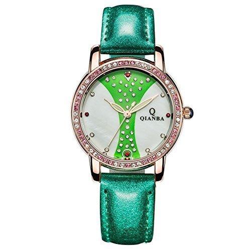 qianba q2604gn 2016 Damen Luxus Gruen Lederband Hot Marke Casual Beruehmte Qualitaet Geschenk Quarz Wasserdicht Strass Relojes beliebtes Fashion Uhren