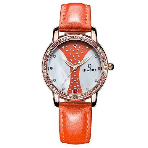 qianba q2604or 2016 Damen Luxus Orange Lederband Hot Marke Casual Beruehmte Qualitaet Geschenk Quarz Wasserdicht Strass Relojes beliebtes Fashion Uhren