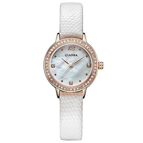 qianba q2602wh 2016 New Frauen Top Luxus Leder Trageriemen Hot Marke Casual Beruehmte Qualitaet Geschenk Quarz Wasserdicht Lady Strass Beliebte Fashion Uhren