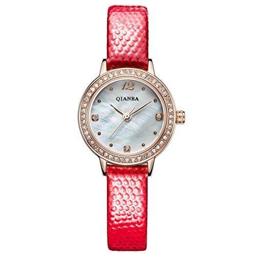qianba q2602rd 2016 New Frauen Rot Top Luxus Leder Trageriemen Hot Marke Casual Beruehmte Qualitaet Geschenk Quarz Wasserdicht Lady Strass Beliebte Fashion Uhren