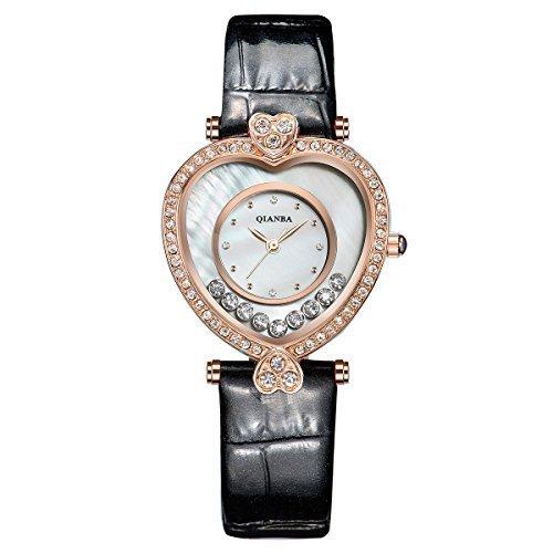 qianba q2601bg 2016 New Frauen schwarz gold Top Luxus Leder Trageriemen Hot Marke Casual Beruehmte Qualitaet Quarz weiblich wasserdicht beliebtes Fashion Armbanduhr Geschenk