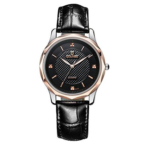 qianba Herren Classic schwarz Leder Rose Gold Fall Casual Kleid Fashion Analog Quarz Handgelenk Uhren q8043bk