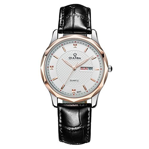 qianba Herren Classic schwarz Lederband Casual Kleid Business Fashion Quarz Uhren q8043wh