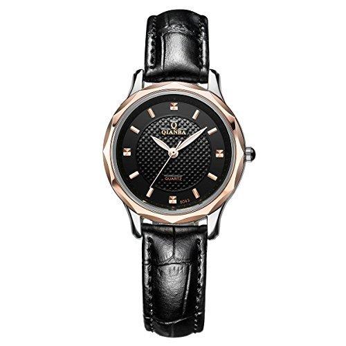qianba Frauen Classic schwarz Lederband Casual Fashion Analog Quarz Handgelenk Uhren q8043 2BK