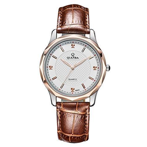 qianba Herren Klassik Einfache Leder braun Casual Fashion Analog Quarz Handgelenk Uhren q8043bn