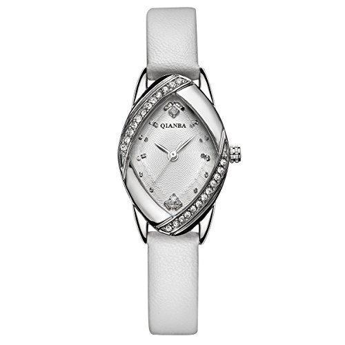 qianba q2606wh weiss Frauen Top Lederband Hot Marke Maedchen Geschenk Qualitaet Quarz Wasserdicht Strass Casual einfache beliebtes Fashion Uhren