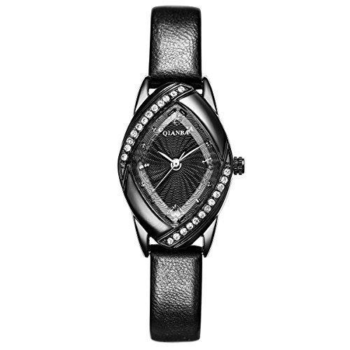 qianba q2606bk schwarz Frauen Top Lederband Hot Marke Maedchen Geschenk Qualitaet Quarz Wasserdicht Strass Casual einfache beliebtes Fashion Uhren