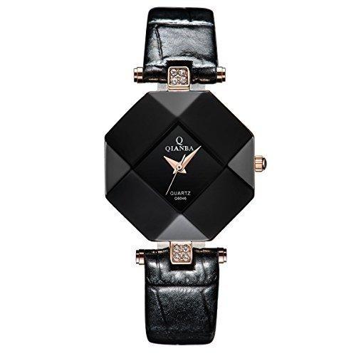 qianba q6046bk Damen Luxus Lederband Casual Beruehmte Qualitaet Geschenk Quarz weiblich wasserdicht beliebtes Fashion Uhren