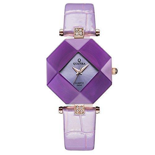 qianba q6046pu violett Damen Luxus Lederband Casual schlicht Qualitaet Geschenk Quarz Lady wasserdicht beliebtes Fashion Uhren