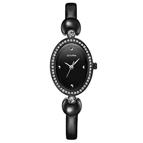 qianba q2605bk schwarz Damen Luxus Top Lederband Hot Marke Casual Beruehmte Qualitaet Geschenk Quarz Wasserdicht Strass Beliebte Fashion Uhren