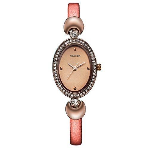 qianba q2605rg Rose Gold Damen Luxus Top Lederband Hot Marke Casual Beruehmte Qualitaet Geschenk Quarz Wasserdicht Strass Beliebte Fashion Uhren