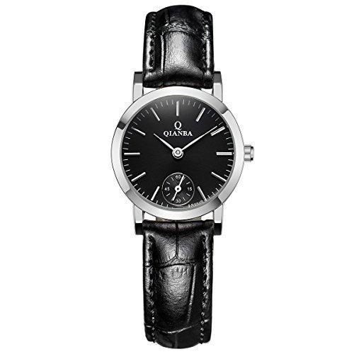 qianba q6047 2BK Frauen Schwarz Qualitaet Luxus Marke Sport Quarz Wasserdicht echtes Leder Gurt einfach Stil Business Kleid Fashion Casual Uhren