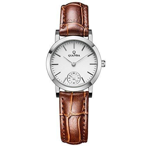 qianba q6047 2BN Frauen Braun Qualitaet Luxus Marke Sport Quarz Wasserdicht echtes Leder Gurt einfachen Stil Maedchen Business Kleid Fashion Casual Uhren