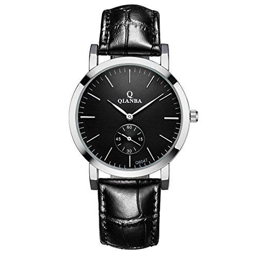 qianba q6047bk Herren Schwarz Qualitaet Luxus Marke Sport Quarz Wasserdicht echtes Leder Gurt einfach Stil Business Kleid Fashion Casual Uhren