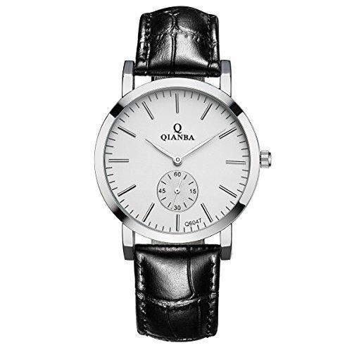 qianba q6047wh Herren Weiss Qualitaet Luxus Marke Sport Quarz Wasserdicht echtes Leder Gurt einfach Stil Business Kleid Fashion Casual Uhren