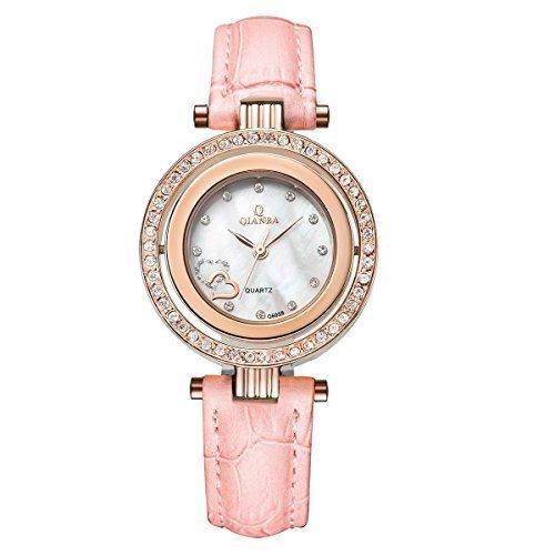 qianba q6059pk Damen Hot Pink Luxus Top Leder Strap Marke Casual beruehmten Lady Geschenk Kleid Qualitaet Quarz Strass Beliebte Fashion Uhren