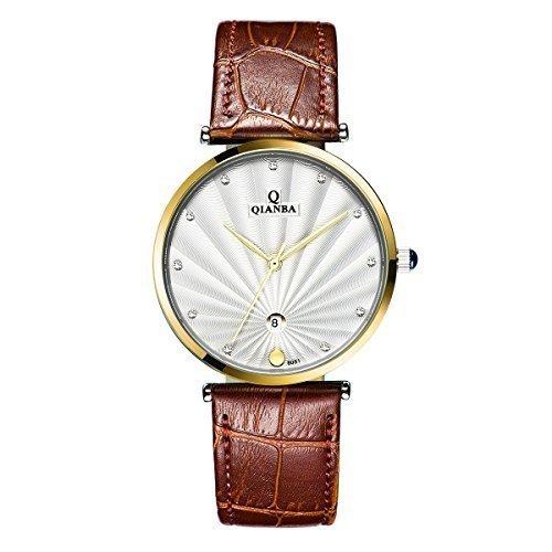 qianba q8051mbw 2016 weiss Luxus Top Marke Quarz Herren Echtes Leder Gurt einfach Stil Business Kleid Wasserdicht Casual Fashion Armbanduhr