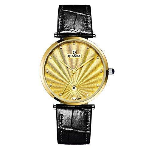 qianba q8051mgd 2016 Gold Luxus Herren Top Marke Quarz echtes Leder Trageriemen einfach Stil Business Kleid Wasserdicht Casual Fashion Armbanduhr