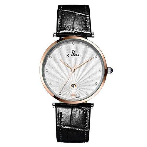 qianba q8051mrw 2016 weiss Luxus Top Marke Quarz Herren Echtes Leder Gurt einfach Stil Business Kleid Wasserdicht Casual Fashion Armbanduhr