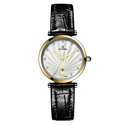 qianba q8051wgw 2016 Frauen Gold Weiss Luxus Marke echtes Leder Kristall Quarz Wasserdicht Lady Style Business Kleid Fashion Casual Armbanduhr