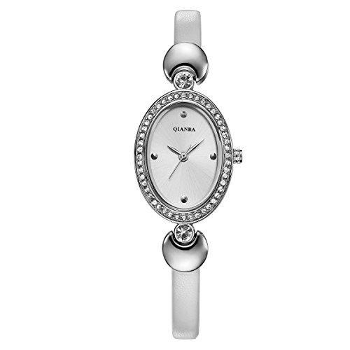 qianba q2605wh weiss Frauen Luxus Top Leder Trageriemen Hot Marke Casual Beruehmte Qualitaet Geschenk Quarz Wasserdicht Strass Beliebte Fashion Uhren
