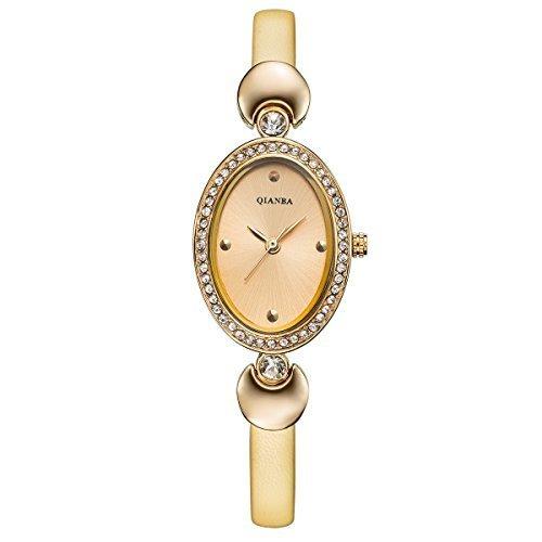 qianba q2605gd Gold Frauen Luxus Top Leder Trageriemen Hot Marke Casual Beruehmte Qualitaet Geschenk Quarz Wasserdicht Strass Beliebte Fashion Uhren