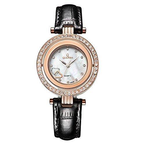qianba q6059bg Frauen Schwarz Gold Luxus Top Leder Trageriemen Hot Marke Casual beruehmten Lady Geschenk Kleid Qualitaet Quarz Strass Beliebte Fashion Uhren