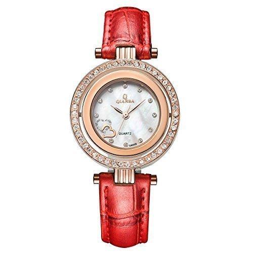 qianba q6059rd Frauen Rot Luxus Top Leder Trageriemen Hot Marke Casual beruehmten Lady Geschenk Kleid Qualitaet Quarz Strass Beliebte Fashion Uhren