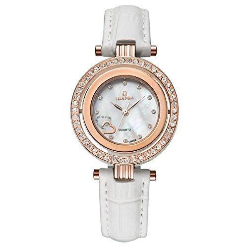 qianba q6059wg Frauen Weiss Gold Luxus Top Leder Trageriemen Hot Marke Casual beruehmten Lady Geschenk Kleid Qualitaet Quarz Strass Beliebte Fashion Uhren