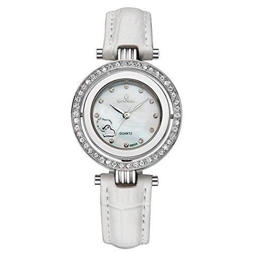 qianba q6059wh Frauen Weiss Luxus Top Leder Trageriemen Hot Marke Casual beruehmten Lady Geschenk Kleid Qualitaet Quarz Strass Beliebte Fashion Uhren