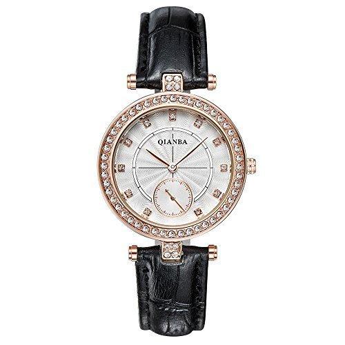 qianba q2607bg Frauen Schwarz Gold Hot Luxus Leder Trageriemen Casual Maedchen Geschenk Kleid Qualitaet Quarz Wasserdicht Strass Beliebte Fashion Armbanduhr