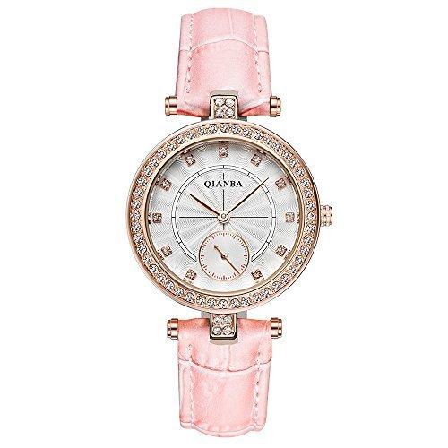 qianba q2607pk Damen Hot Pink Luxus Leder Trageriemen Casual Maedchen Geschenk Kleid Qualitaet Quarz Wasserdicht Strass Beliebte Fashion Armbanduhr