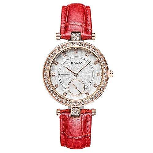 qianba q2607rd Frauen Red Hot Luxus Leder Trageriemen Casual Maedchen Geschenk Kleid Qualitaet Quarz Wasserdicht Strass Beliebte Fashion Armbanduhr