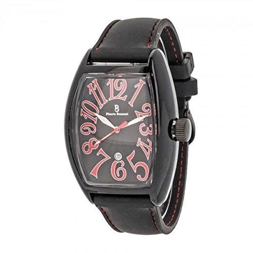 Pierre Bonnet Uhr Herren 5195 e Leder gummiert schwarz Zahlen Quarz Datum Mode