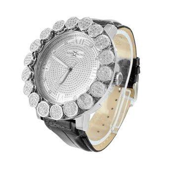 Echter Diamant Khronos Armbanduhr 1 Zeile Luenette 14 K Weiss Gold Finish analoge Uhr
