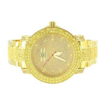 Iced Out 14 K Gold Finish Echter Diamant Herren 2 Reihen Luenette Classy Khronos Stahl Armbanduhr