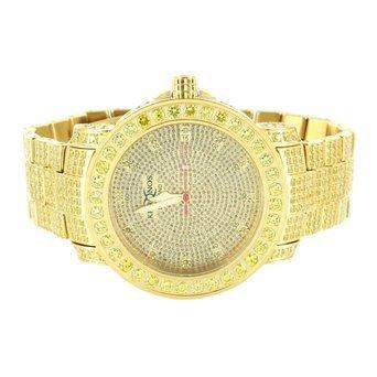 1 Zeile gelb Lab diamantenluenette Khronos Gold Finish Echter Diamant Zifferblatt Armbanduhr
