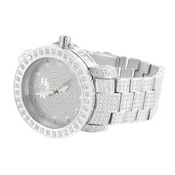 Elegante Weiss Gold Finish Echter Diamant Zifferblatt Vintage vollstaendig Iced Out Khronos Armbanduhr