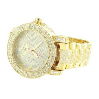 Herren HOT Khronos Aqua Master Designer Custom Diamant Gold Finish Iced Band Armbanduhr